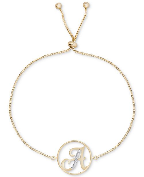 Macy's Diamond Accent Initial Bolo Bracelet in 18k Gold-Plate