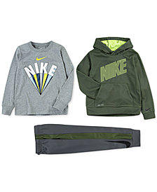 Nike Toddler Boys Therma-FIT Mesh Pullover Hoodie, Logo-Print T-Shirt & Jogger Pants