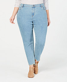 Eileen Fisher Plus Size Organic Cotton Stretch Denim Raw-Hem Jeans
