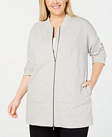 Eileen Fisher Plus Size Cotton Terry Zippered Jacket