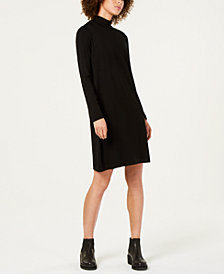 Eileen Fisher Stretch Jersey Long-Sleeve Turtleneck Shift Dress