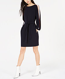 Marella Sguizzo Split-Sleeve Belted Dress