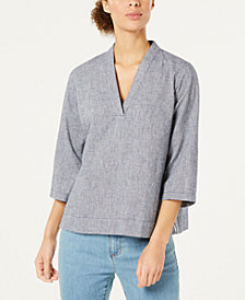 Eileen Fisher Hemp 3/4-Sleeve Boxy Top, Created for Macy's