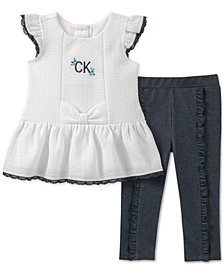 Calvin Klein Baby Girls 2-Pc. Textured Tunic & Denim Leggings Set