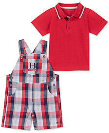 Tommy Hilfiger Baby Boys 2-Pc. Polo Shirt & Plaid Shortallls Set