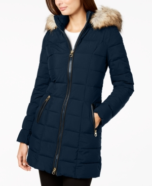 Laundry By Shelli Segal LAUNDRY BY SHELLI SEGAL MIXED-MEDIA HOODED PUFFER COAT