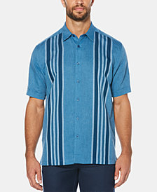 Cubavera Men's Yarn-Dyed Striped Panel Short-Sleeve Linen Shirt