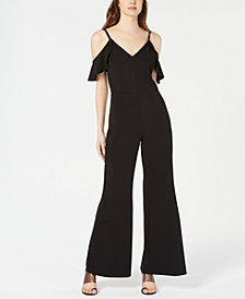 Bar III Ruffled Cold-Shoulder Jumpsuit, Created for Macy's