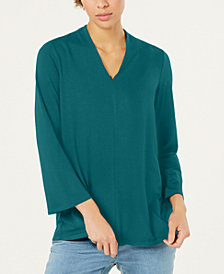 Eileen Fisher Stretch Jersey Bracelet-Sleeve V-Neck Top, Regular & Petite
