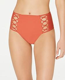 Volcom Juniors' Simply Solid Retro Strappy High-Waist Bikini Bottoms