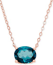 "London Blue Topaz 17"" Pendant Necklace (2-1/5 ct. t.w.) in 14k Rose Gold"