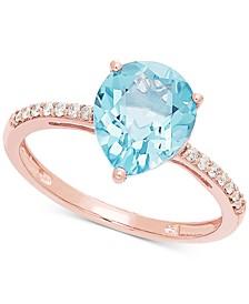 Aquamarine (2-1/10 ct. t.w.) & Diamond (1/10 ct. t.w.) Ring in14k Rose Gold