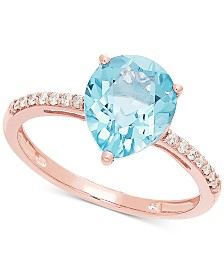 Aquamarine (2-1/10 ct. t.w.) & Diamond (1/10 ct. t.w.) Ring in14k Rose Gold