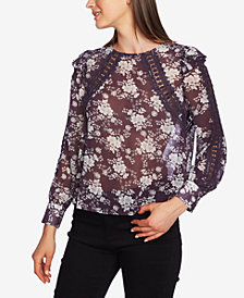 1.STATE Lace-Inset Floral Blouse