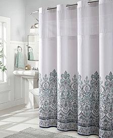 Hookless Damask Border Print 3-in-1 Shower Curtain