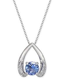 """Tanzanite (1/2 ct. t.w.) & Diamond Accent 18"""" Pendant Necklace in 14k White Gold"""
