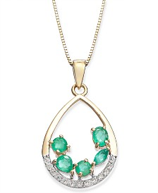 "Emerald (3/4 ct. t.w.) & Diamond (1/8 ct. t.w.) 18"" Pendant Necklace in 14k Gold"