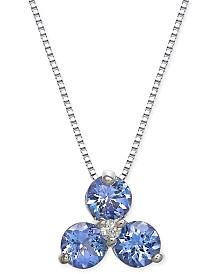 "Tanzanite (3/4 ct. t.w.) & Diamond Accent 18"" Pendant Necklace in 14k White Gold"