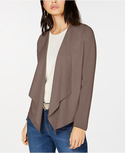 5bb767266ad I.N.C. Open-Front Moleskin Cardigan, Created for Macy's