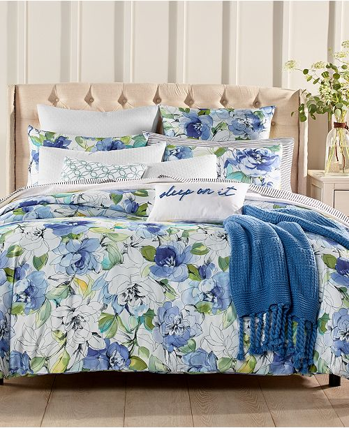 Charter Club Sketch Floral 300 Thread Count Duvet Cover Sets, Created for Macy's
