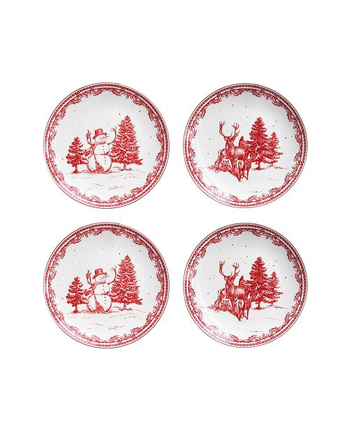 American Atelier CLOSEOUT! Vintage Christmas Salad Plates, Set of 4