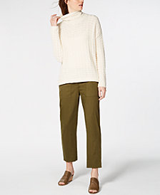 Eileen Fisher Funnel-Neck Top & Cropped Pants