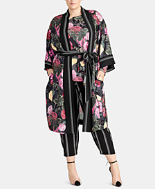 RACHEL Rachel Roy Trendy Plus Size Archer Floral-Print Kimono, Created for Macy's