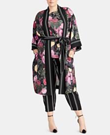 c5390222ca6c5f RACHEL Rachel Roy Trendy Plus Size Archer Floral-Print Kimono