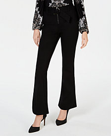I.N.C. Petite Belted Ponte-Knit Bootcut Pants, Created for Macy's