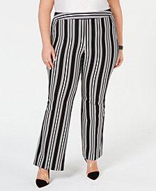 I.N.C. Plus & Petite Plus Size Striped Ponte-Knit Boot-Cut Pants, Created for Macy's