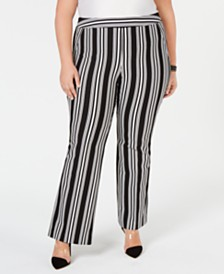 I.N.C. Petite Plus Size Striped Ponte-Knit Boot-Cut Pants, Created for Macy's