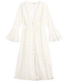 Monteau Big Girls Lace Bell-Sleeve Duster