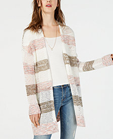 American Rag Juniors' Striped Open-Knit Cardigan, Created for Macy's