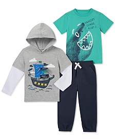 Kids Headquarters Little Boys 3-Pc. Pirate-Ship Hooded Shirt, T-Shirt & Joggers Set