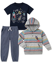 Kids Headquarters Toddler Boys 3-Pc. Spaceship Hoodie, T-Shirt & Joggers Set