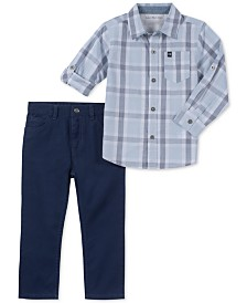 Calvin Klein Little Boys 2-Pc. Plaid Cotton Shirt & Pants Set