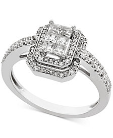 Diamond Princess Halo Engagement Ring (1/2 ct. t.w.) in 14k White Gold