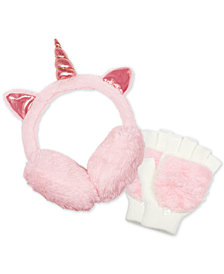 FAB Little Girls 2-Pc. Faux-Fur Unicorn Earmuff & Magic Gloves Set