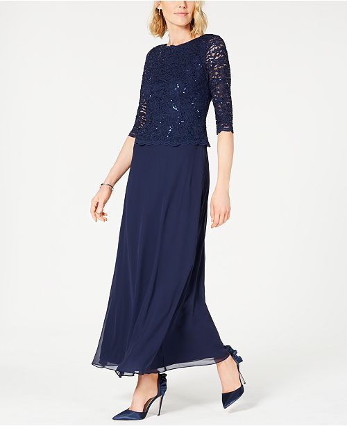 11719f2e7f1 Alex Evenings Sequined Lace Gown   Reviews - Dresses - Women - Macy s