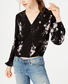 American Rag Juniors' Printed Crochet-Trimmed Bubble Top, Created for Macy's