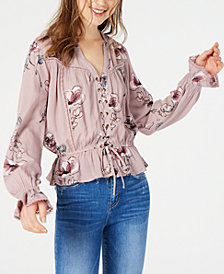 American Rag Juniors' Printed Lace-Up Blouse, Created for Macy's