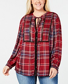 Plus Size Pintucked Plaid Top