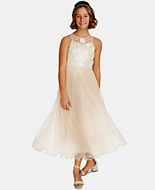 Big Girls Embroidered Mesh Gown