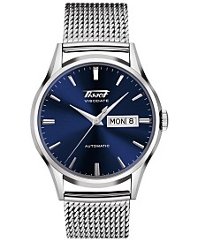 Tissot Men's Swiss Automatic Heritage Visodate Stainless Steel Mesh Bracelet Watch 40mm