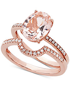Love Rocks Bridal Morganite (2-3/8 ct. t.w) & Diamond (1/5 ct. t.w) Bridal Set in 14k Rose Gold