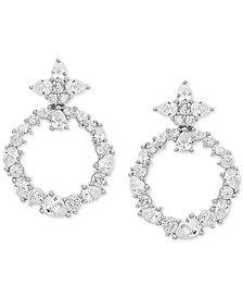 Swarovski Zirconia Doorknocker Drop Earrings in Sterling Silver
