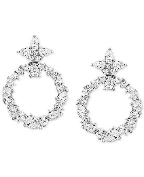 Arabella Swarovski Zirconia Doorknocker Drop Earrings in Sterling Silver