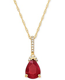 "Certified Ruby (1-1/3 ct. t.w.) & Diamond Accent 18"" Pendant Necklace in 14k Gold"