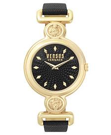 Versus Women's Sunnyridge Extension Black Leather Strap Watch 34mm