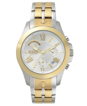 Versus VERSUS MEN'S CHRONO LION EXTENSION TWO TONE GOLD/SILVER BRACELET WATCH 44MM